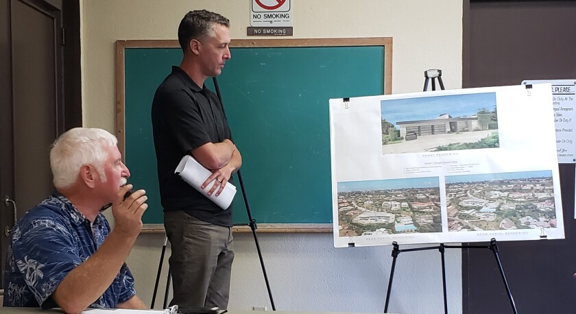 Applicant's representative Scott Huntsman (standing) discusses the Morgan Residence project at 8441 Whale Watch Way during the La Jolla Shores Permit Review Committee meeting Oct. 21 at the Rec Center.