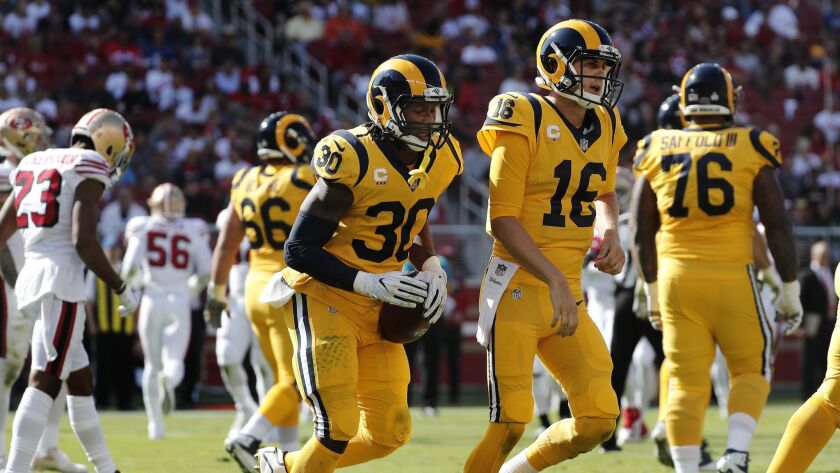SANTA CLARA, CA - OCTOBER 21, 2018: Los Angeles Rams running back Todd Gurley (30) leaves the end