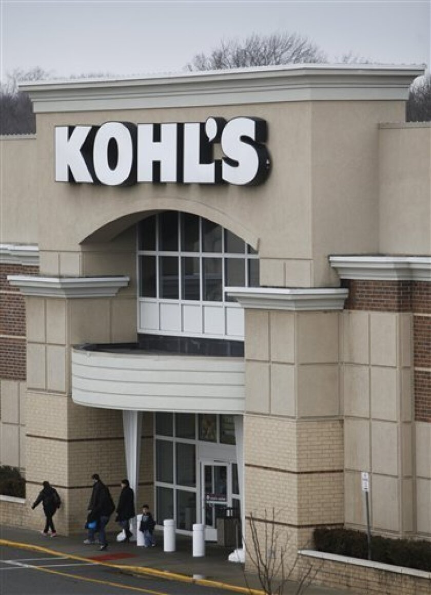 FILE - In this Feb. 24, 2010 file photo, shoppers exit a Kohl's store in Paramus, N.J. Kohl's Corp. is increasing its holiday hiring this season by 21 percent, another major retailer to boost its employee count this winter. The department store chain said Wednesday, Oct. 6, 2010, it expects to hire more than 40,000 people this season, up from 33,000 last year. (AP Photo/Seth Wenig, file )