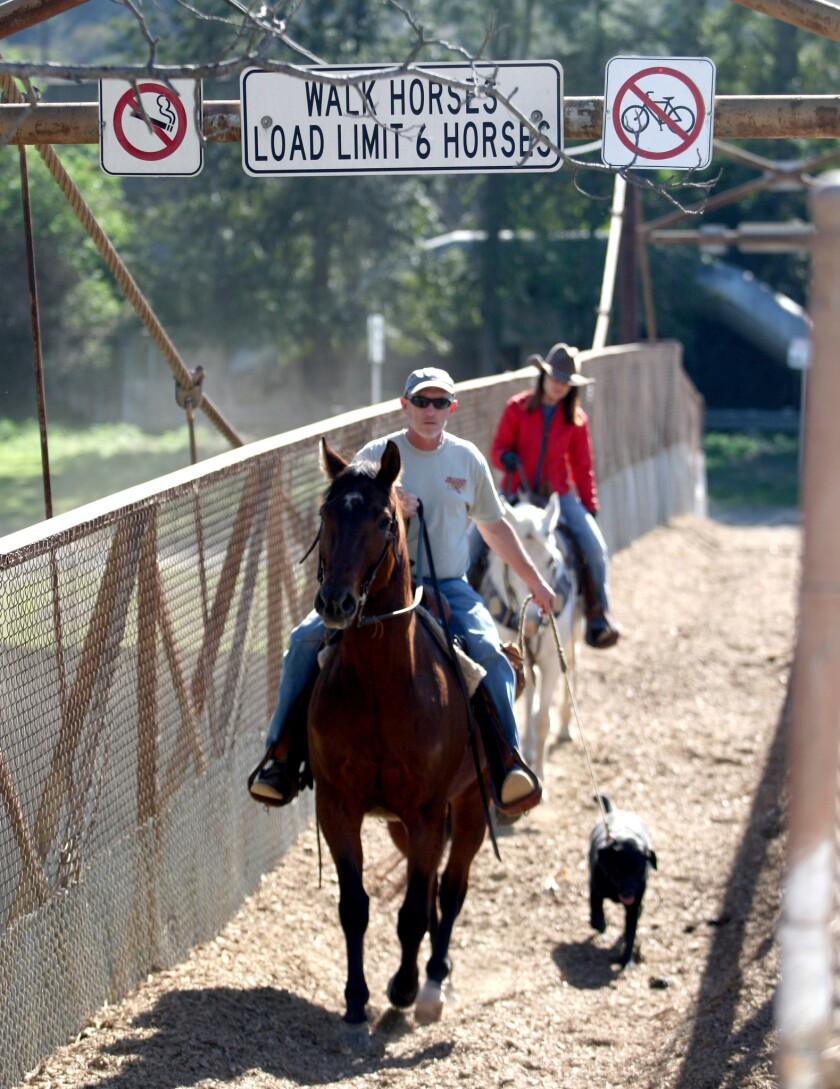 The Mariposa bridge is at the terminus of Mariposa Street at Valleyheart Dr. next to Circle K Ranch and is used to cross into the city of Los Angeles horse trails.