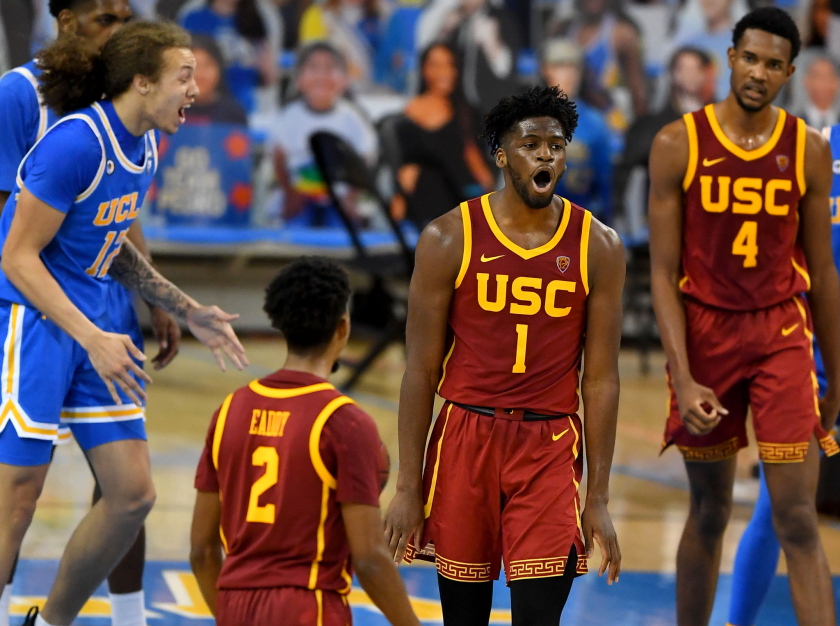 USC's Chevez Goodwin (1) reacts after making a basket in the second half against UCLA on March 6, 2021.