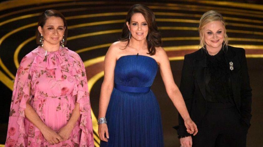 Maya Rudolph, left, Tina Fey and Amy Poehler at the 91st Academy Awards.