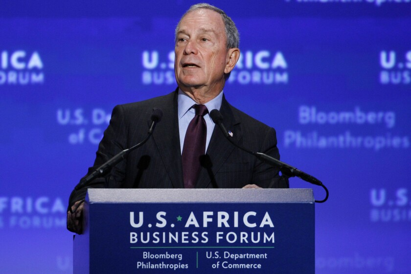 Michael Bloomberg welcomes leaders to the U.S.-Africa Business Forum in Washington on Aug. 5.