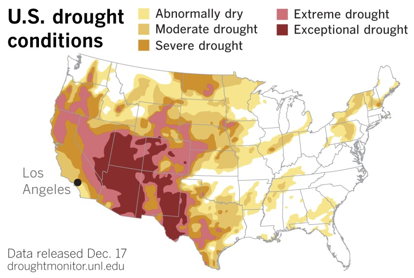 Map of the U.S. shows large regions in the West and Southwest in drought