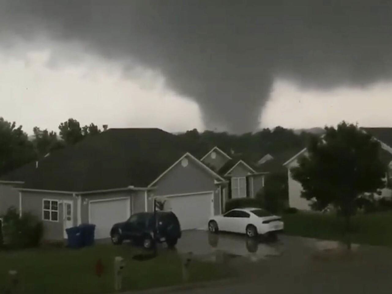 A still image taken from video shows a tornado in Carl Junction, near Joplin in southwestern Missouri.