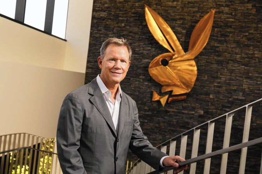 Scott Flanders, CEO of Playboy Enterprises, at the company's Beverly Hills headquarters. He beat 167 other candidates to become the first non-Hefner to head Playboy, after the retirement of Christie Hefner.