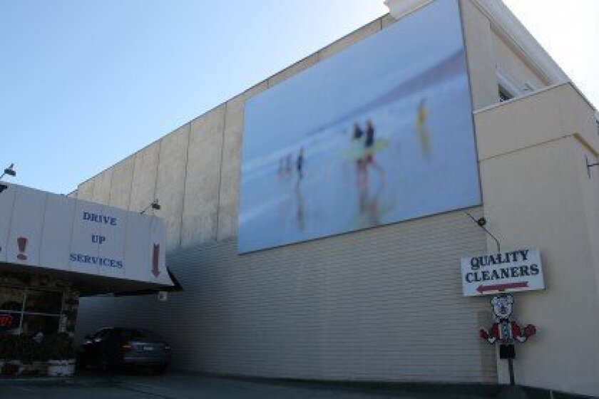 """""""The Shores,' an abstract photographic work by Los Angeles based artist Catherine Opie. was installed on Girard Avenue Oct. 29. Pat Sherman photos"""