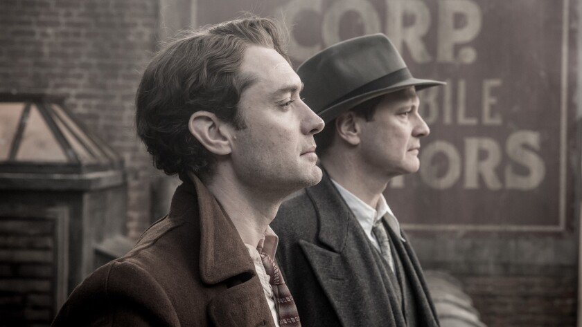 Jude Law as Thomas Wolfe and Colin Firth as Maxwell Perkins in 'Genius'