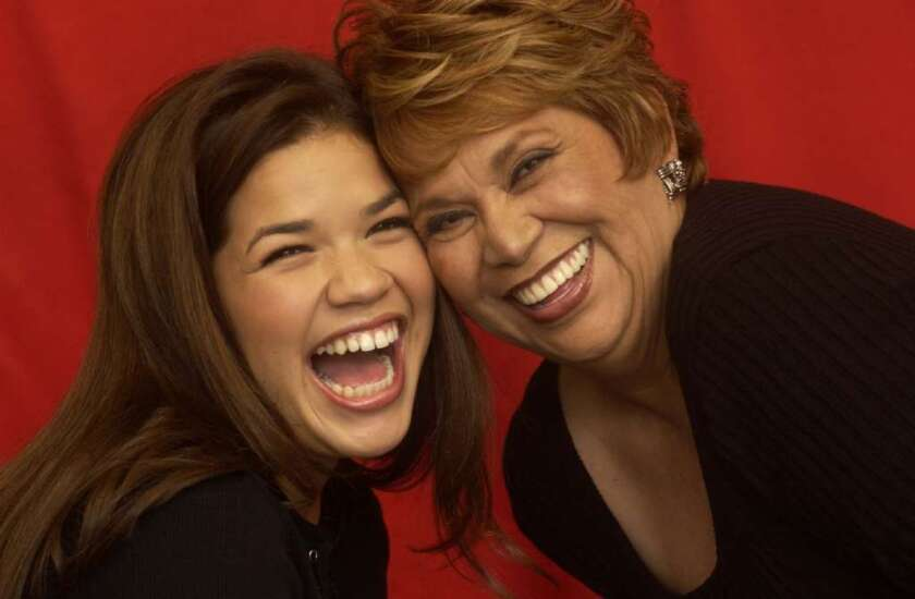 """Lupe Ontiveros, right, and America Ferrera, promoting the film """"Real Women Have Curves"""" at the 2002 Sundance film festival."""