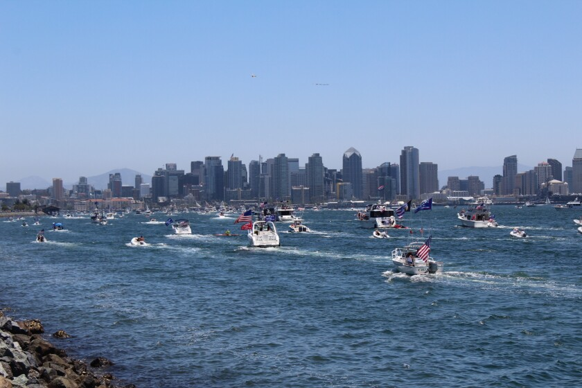 Boats paraded through San Diego Bay Saturday in a show of support for President Donald Trump.