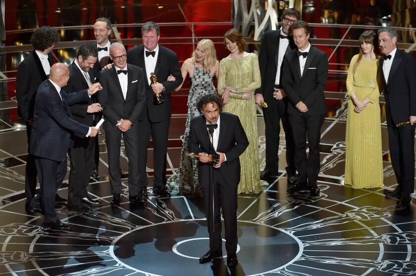 """Birdman"" director Alejandro G. Iñárritu accepts the Oscar for best picture."