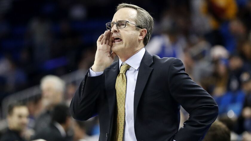 LOS ANGELES, CALIF. - JAN. 24, 2019. UCLA coach Murry Battow coaches his Bruins squad against ASU in