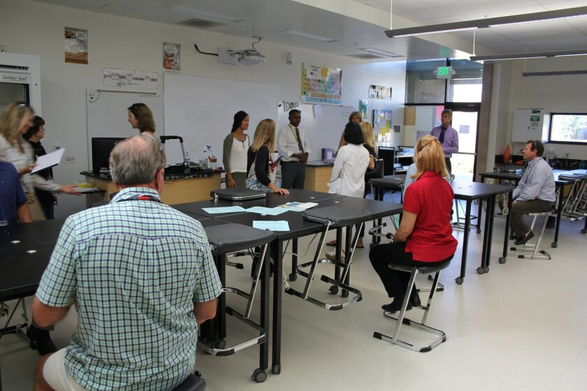 The tour visited one of four new chemistry classrooms at Torrey Pines.