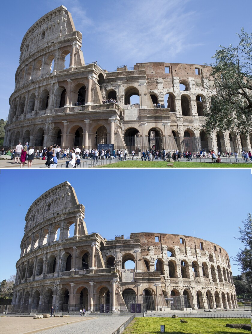FILE - This combo of two images shows Rome's ancient Colosseum, top, at 12.49gmt on Sunday April 8, 2018, and at 13.00gmt of Wednesday, March 11, 2020. Italy's grave outbreak of coronavirus has emptied landmarks of tourists and Romans. A photographic look at Rome before virus fears spooked the public and now contrasts crowded places like the Colosseum and the Roman Forum now devoid of visitors. (AP Photo/Virginia Mayo, Andrew Medichini)