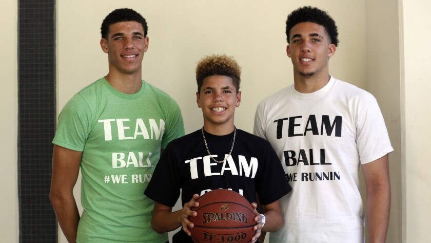 Brothers (from left) Lonzo Ball, LaMelo Ball and LiAngelo Ball in 2015.