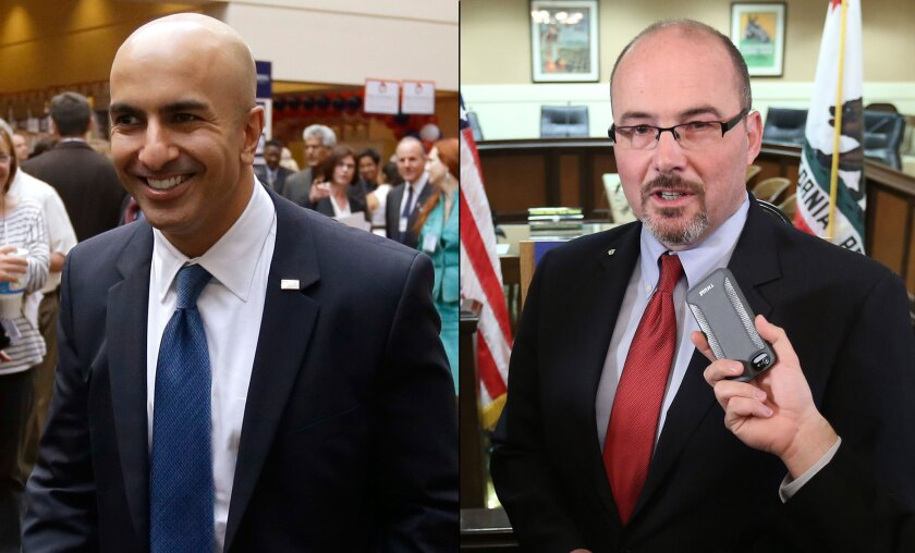 Republican gubernatorial candidates Neel Kashkari, left, and Assemblyman Tim Donnelly.