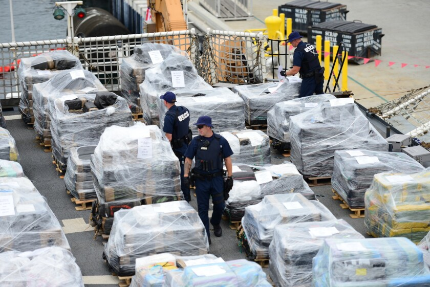 Coast Guard Cutter Stratton crew offloads 34 metric tons of cocaine in San Diego on Monday. The drugs were seized in 23 separate interdictions by Coast Guard cutters and Coast Guard law enforcement teams operating in known drug transiting zones.