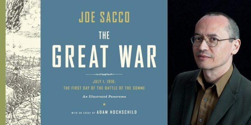 "Author Joe Sacco and the cover of his book, ""The Great War."""