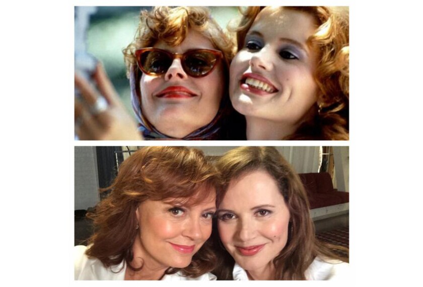 Susan Sarandon and Genna Davis re-create their iconic 'Thelma & Louise' selfie 23 years later.