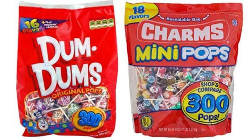 The manufacturer behind Dum-Dums lollipops won a temporary injunction against Tootsie Roll, forcing the Chicago-based company to stop using confusingly similar packaging for its Charms Mini Pops.