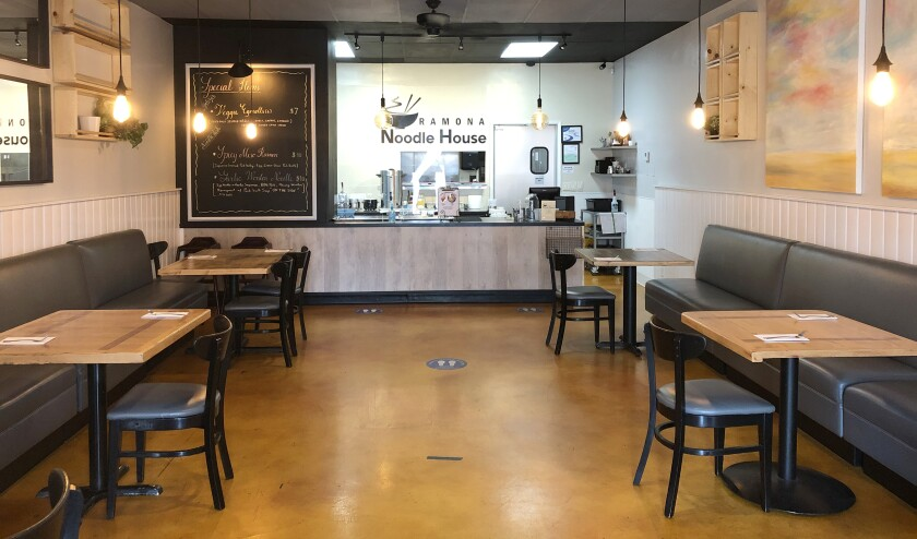 Ramona Noodle House is seating customers at up to 25 percent of its dining room capacity.