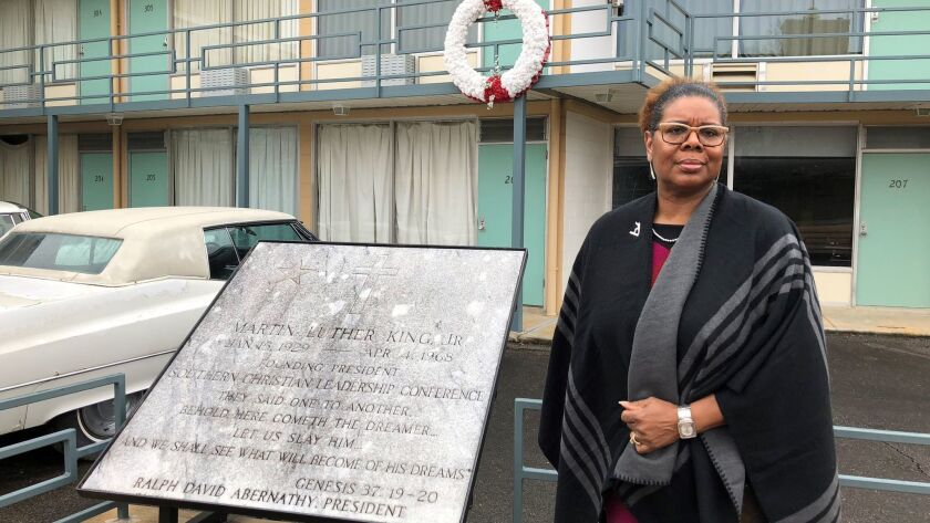 National Civil Rights Museum President Terri Lee Freeman stands in front of the balcony of the old L