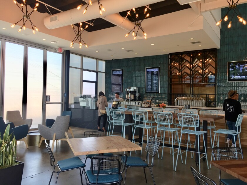 The coffee and cocktail bar in the main dining room at Park Commons, a food hall for tech workers that opened Nov. 11 in Sorrento Valley.