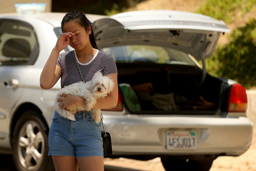 Connie Tran, 17, holds her dog Snowball as she prepares to evacuate her house with her family.
