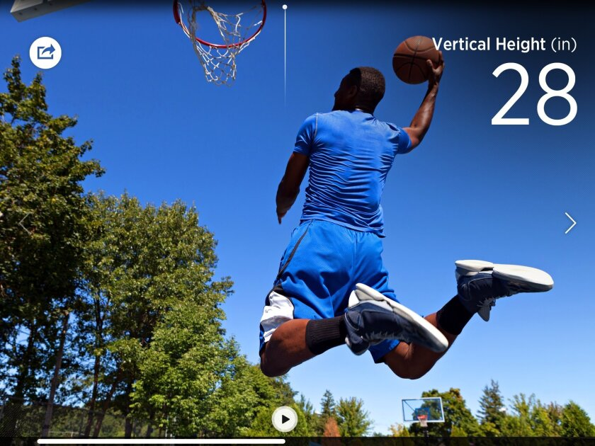 Sensors can measure vertical jump and hang time for basketball players
