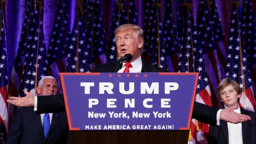 Republican President-elect Donald Trump delivers his acceptance speech in New York City.