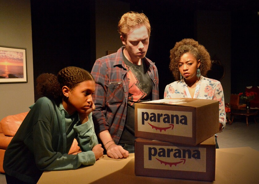 "Sequoia Granger, left, Max Pescherine and Charlotte Evelyn Williams in ""Are You Listening?"" a one-act in Leda Siskind's ""The Surveillance Trilogy"" at Theatre 40."