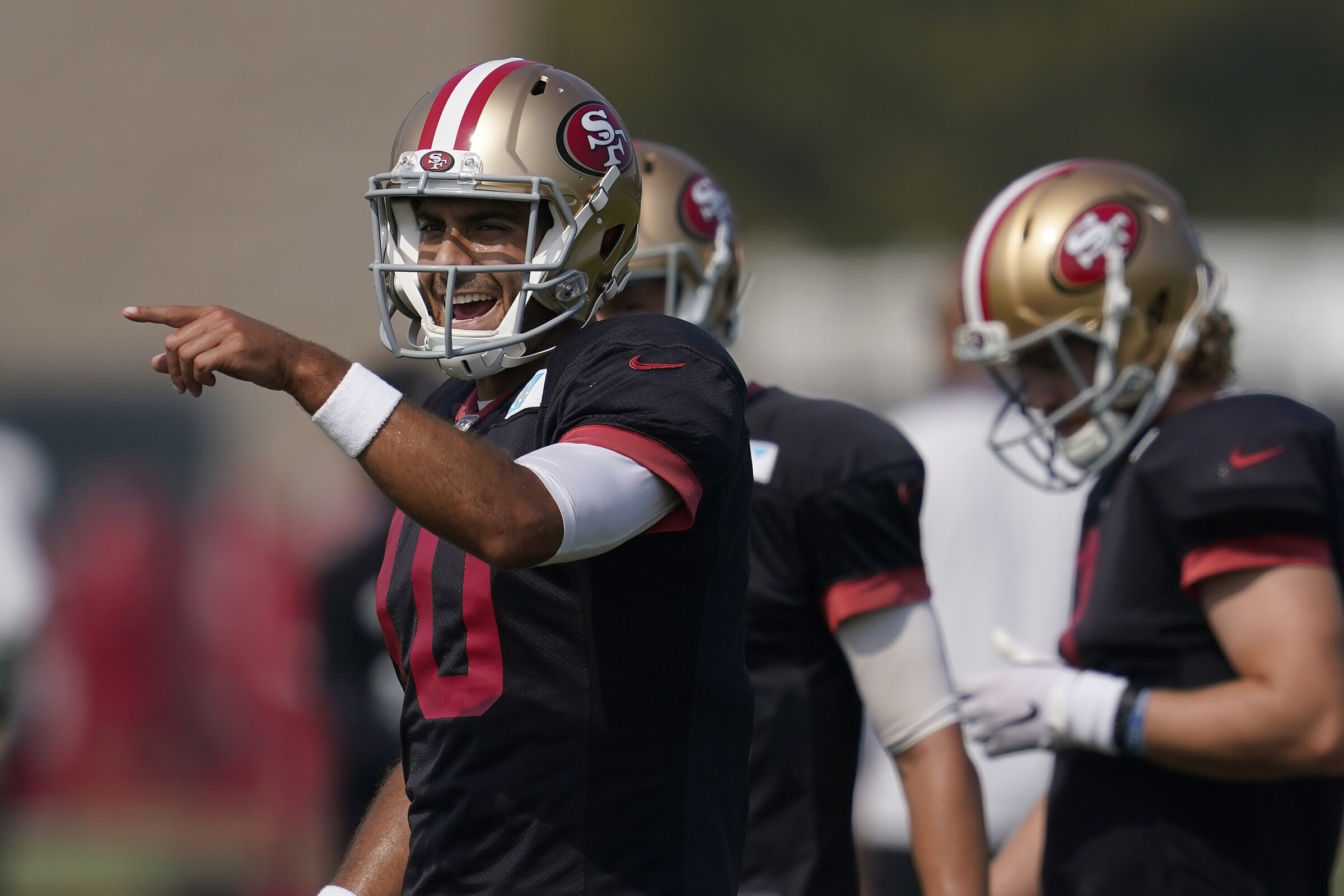 San Francisco 49ers quarterback Jimmy Garoppolo (10) gestures during NFL football practice.