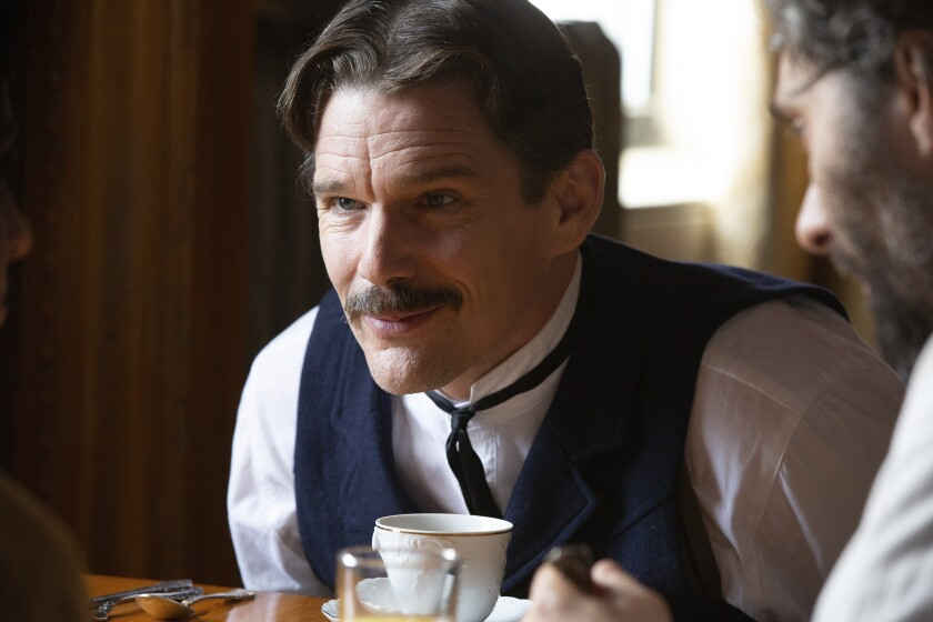 """This image released by IFC Films shows Ethan Hawke in a scene from """"Tesla."""" (Cara Howe/IFC Films via AP)"""