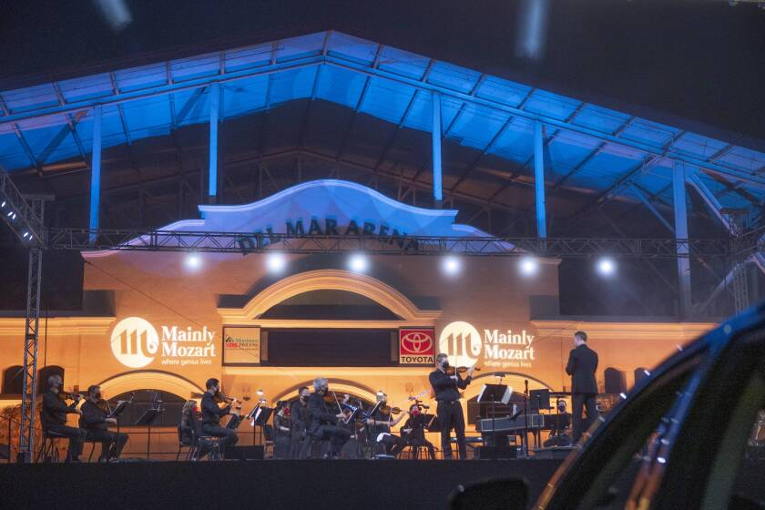 Musicians at one of Mainly Mozart's first 2020 drive-in concerts