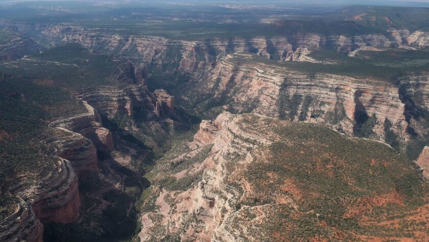 FILE - This May 8, 2017 file photo, shows an aerial view of Arch Canyon within Bears Ears National M