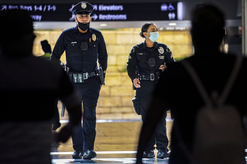 Los Angeles, CA - August 11: LAPD officers patrol Union Station on Wednesday, Aug. 11, 2021 in Los Angeles, CA.