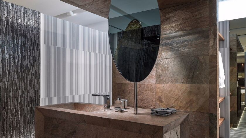 3. Slate goes high tech with new, ultra-thin Porcelanosa flexible tiles.