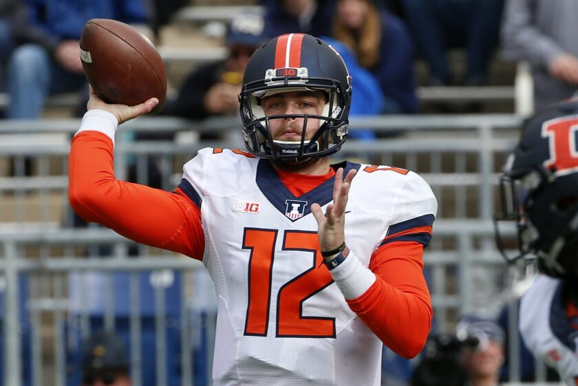 Illinois quarterback Wes Lunt (12) throws a screen pass during the first half of an NCAA college football game against Penn State in State College, Pa., Saturday, Oct. 31, 2015. (AP Photo/Gene J. Puskar)