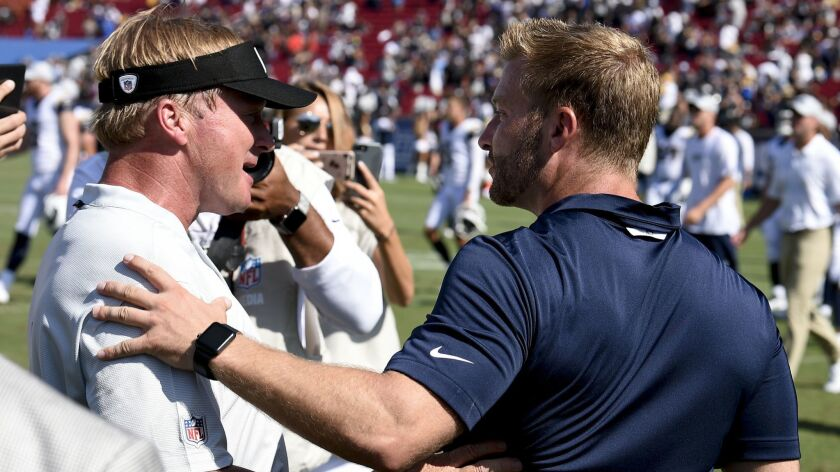 Los Angeles Rams head coach Sean McVay, right, greets Oakland Raiders head coach Jon Gruden after th