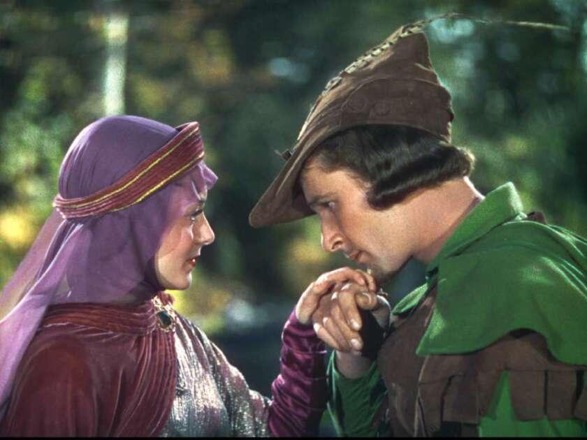 """""""The Adventures of Robin Hood,"""" starring Errol Flynn and Olivia de Havilland."""