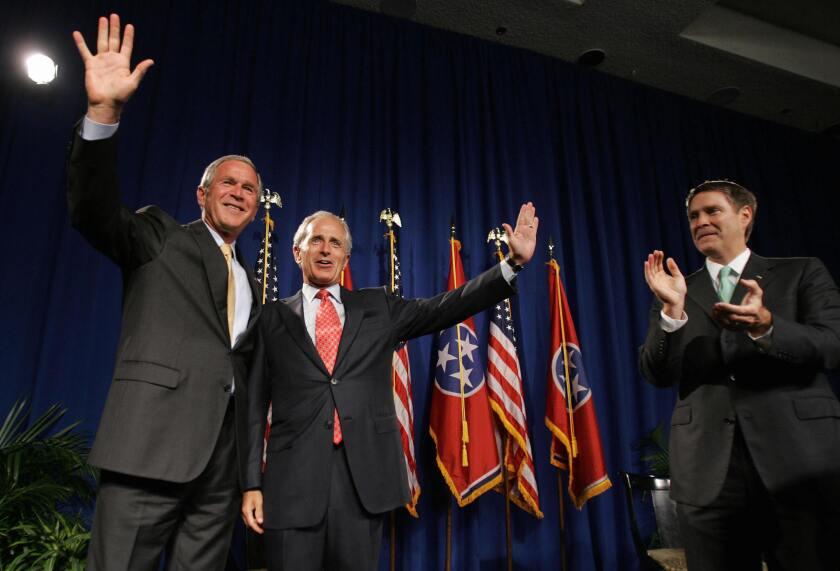 President Bush campaigns with Bob Corker