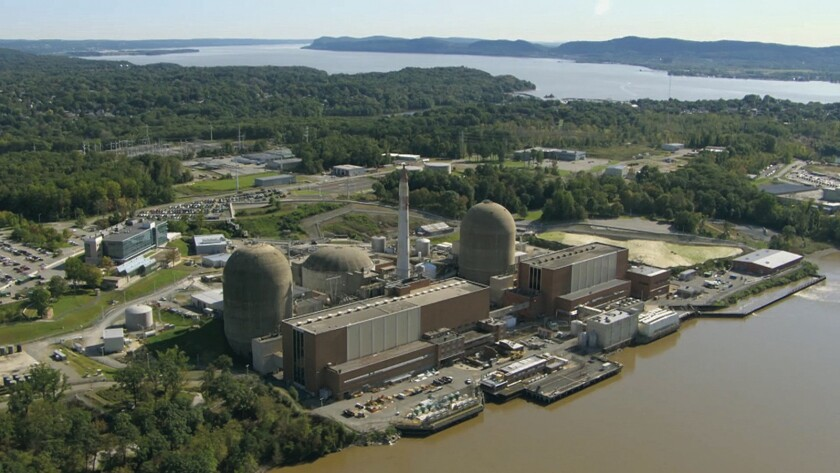 """An aerial view of Indian Point nuclear power plant as seen in the documentary """"Indian Point."""""""