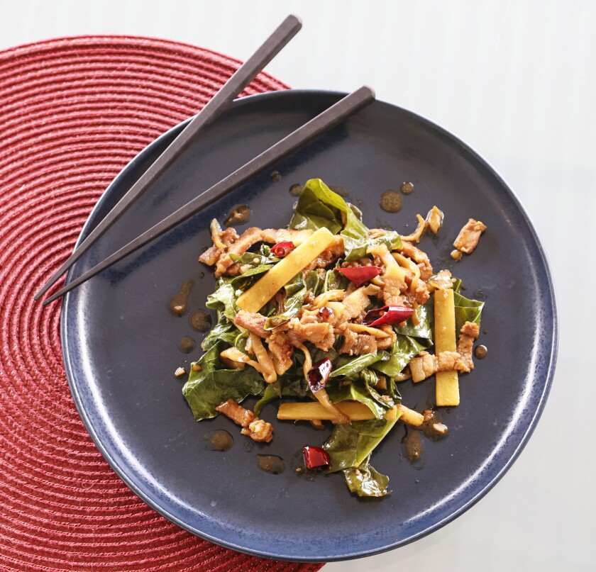 Stir Fried Pork Belly with Preserved Mustard Tuber and Cauliflower Leaves