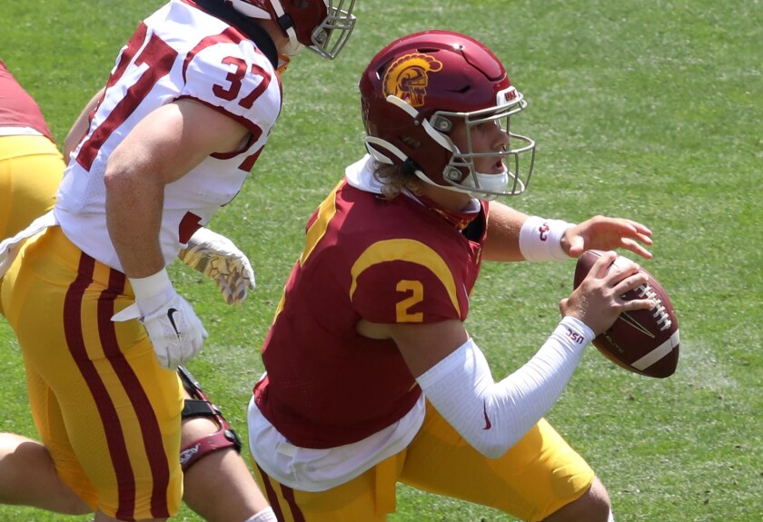 USC quarterback Jaxson Dart scrambles during the USC spring game in April.