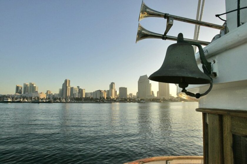 The San Diego skyline from the San Diego Harbor Excursions ferry Silvergate on one of its last trips to and from North  island Naval Air in Coronado to the B Street Pier in San Diego. After today, service from San Diego to the air station will end.