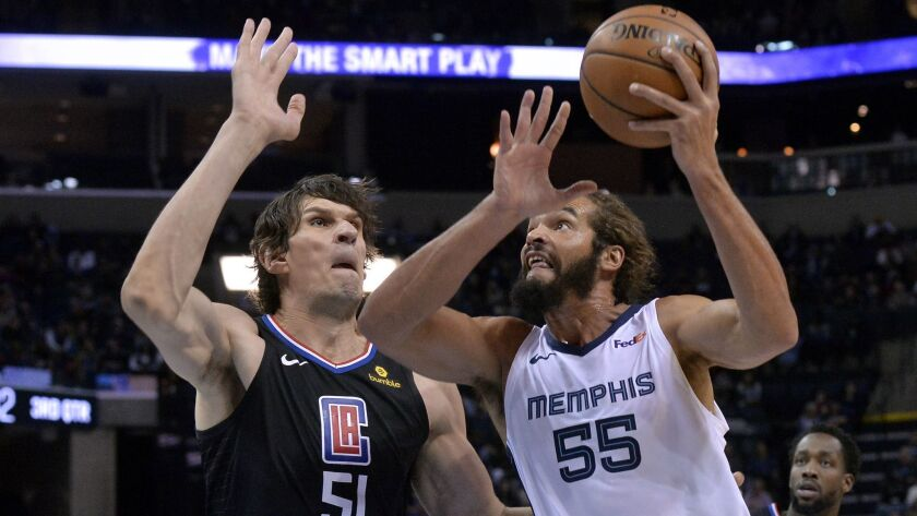 Memphis Grizzlies center Joakim Noah (55) drives against Clippers center Boban Marjanovic (51) in the second half.