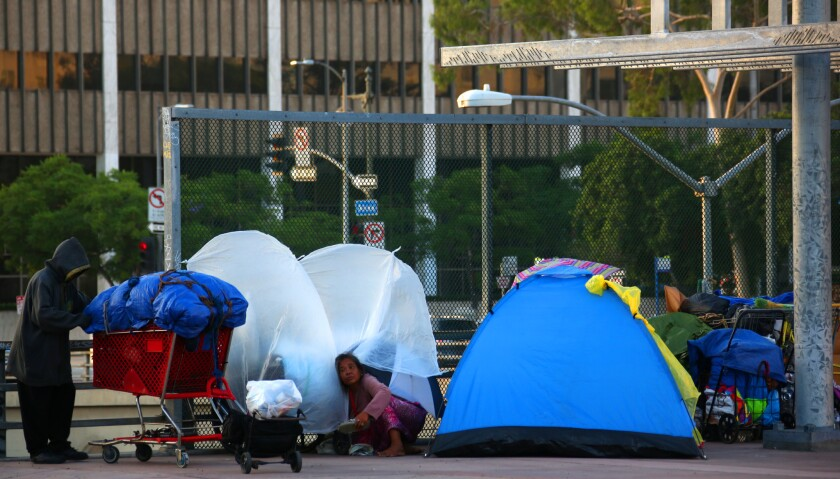 A homeless encampment near the 101 freeway in downtown Los Angeles.