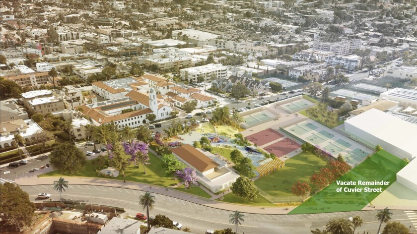 The portion of Cuvier Street shaded in green is proposed to be vacated to help plans to revamp the La Jolla Rec Center.
