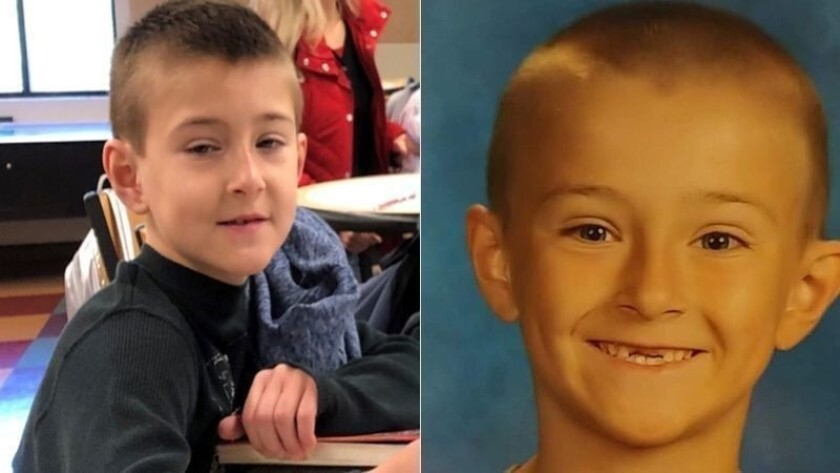 Noah McIntosh, 8, in a photo released by Corona police, left, and in a family photo.