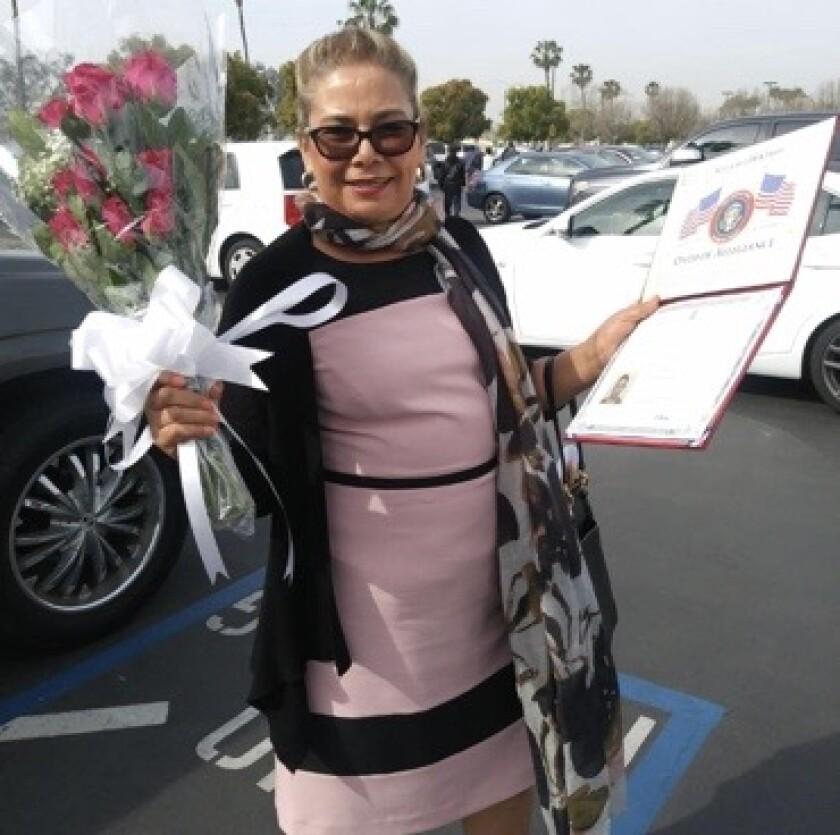 Nora Escalante celebrates becoming a naturalized U.S. citizen on March 26, 2019